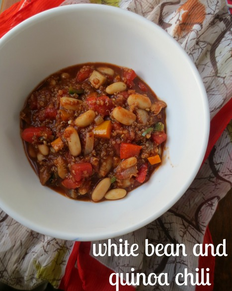 White Bean and Quinoa Chili with text