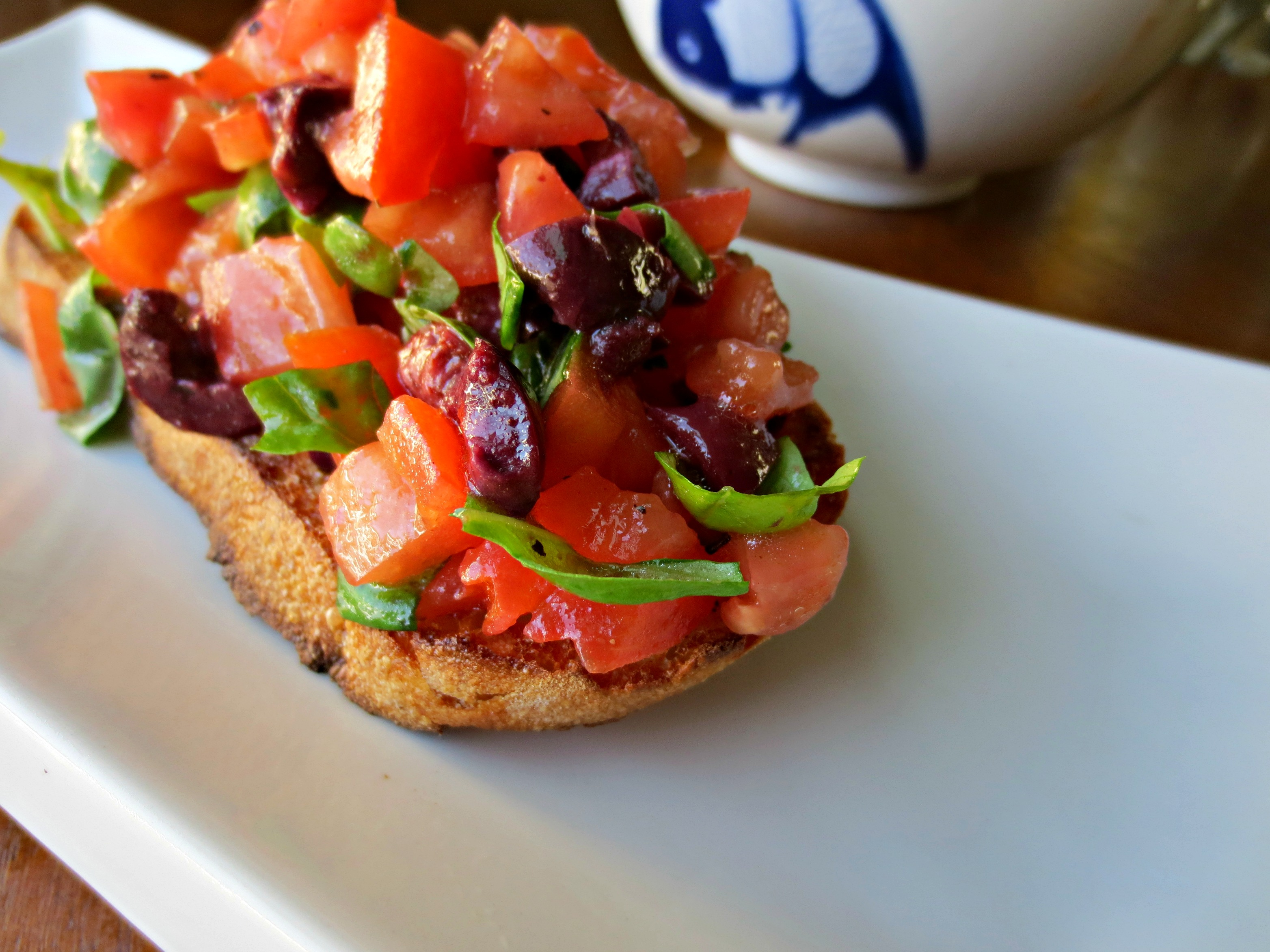 tomato olive bruschetta for one v spot. Black Bedroom Furniture Sets. Home Design Ideas