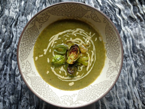 Green Soup with Roasted Brussel Sprouts and Leeks
