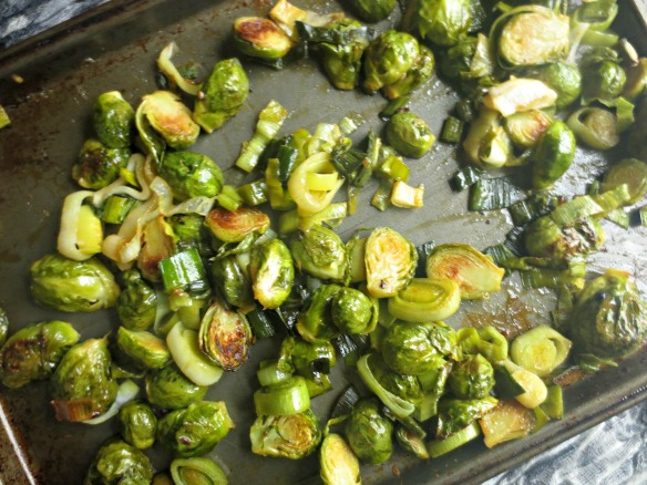 Green Soup with Maple-Dijon Roasted Brussel Sprouts and Leeks | V-Spot