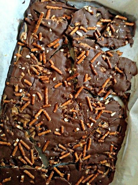 Dark and Milk Chocolate Peanut Butter Pretzel Bark